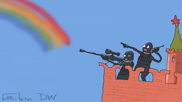 Люди в масках, стоя на кремлевской стене, расстреливают радугу
