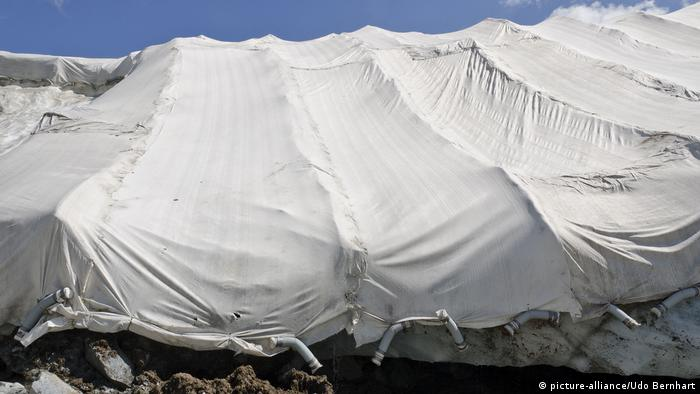 A closeup of insulating tarps on a glacier