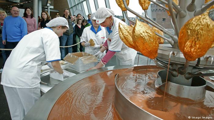 Fuente de chocolate en el Museo del Chocolate de Colonia, Alemania.