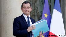 FILE PHOTO: French Minister of Public Action and Accounts Gerald Darmanin leaves after the weekly cabinet meeting and an official presentation of the pensions reform bill at the Elysee Palace in Paris, France, January 24, 2020. REUTERS/Charles Platiau/File Photo