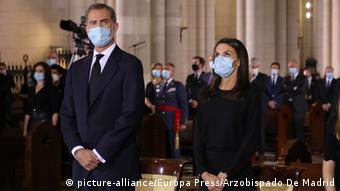 Король Филипп с супругой Летисией на траурной церемонии в память об умерших от коронавируса