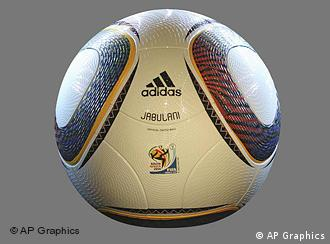 Foto de archivo del balón Jabulani. Adidas Jabulani, 2010 FIFA World Cup South Africa Official Match Ball, graphic element on gray