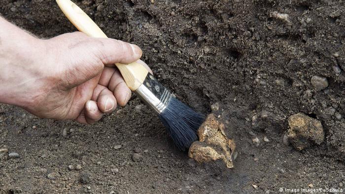 Foto simbólica de una mano con una brocha en una excavación.