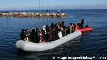 March 1, 2020*** 200301 -- LESVOS GREECE, March 1, 2020 -- A boat full of refugees from Turkey approaches the port of Thermi, on the island of Lesvos, Greece, on March 1, 2020. Dozens of refugees and migrants reached the shores of Lesvos island in northeastern Aegean Sea, as Greece said it is determined to do what is deemed necessary to guard its borders on land and sea, which are also Europe s borders. GREECE-LESVOS-REFUGEE MariosxLolos PUBLICATIONxNOTxINxCHN