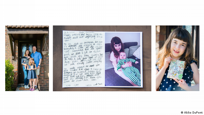 Photo from series 'Letters to the Loved Ones': This is Sofia - 7 year old Sofia wrote a letter to her grandmother in Canada: picture of a young girl with a handwritten card (Akiko DuPont)