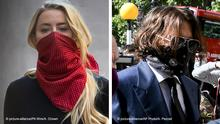 Bildkombo | Johnny Depp und Amber Heard Amber Heard Johnny Depp court case. Actress Amber Heard arriving at the High Court in London for a hearing in Johnny Depp's libel case against the publishers of The Sun and its executive editor, Dan Wootton. Picture date: Tuesday July 7, 2020. 57-year-old Depp is suing the tabloid's publisher News Group Newspapers (NGN) over an article which called him a wife beater and referred to overwhelming evidence he attacked Ms Heard, 34, during their relationship, which he strenuously denies. See PA story COURTS Depp. Photo credit should read: Aaron Chown/PA Wire URN:54478731 | picture-alliance/PA Wire/A. Chown Johnny Depp Johnny Depp, right, wearing a protective mask arrives at the Royal Court of Justice, in London, Tuesday, July 7, 2020. Johnny Depp is suing a tabloid newspaper for libel over an article that branded him a wife beater. On Tuesday, a judge at the High Court is due to begin hearing Depp's claim against The Sun's publisher, News Group Newspapers, and its executive editor, Dan Wootton, over the 2018 story alleging he was violent and abusive to then-wife Amber Heard. Depp strongly denies the claim. (AP Photo/Alberto Pezzali) | picture-alliance/AP Photo/A. Pezzali