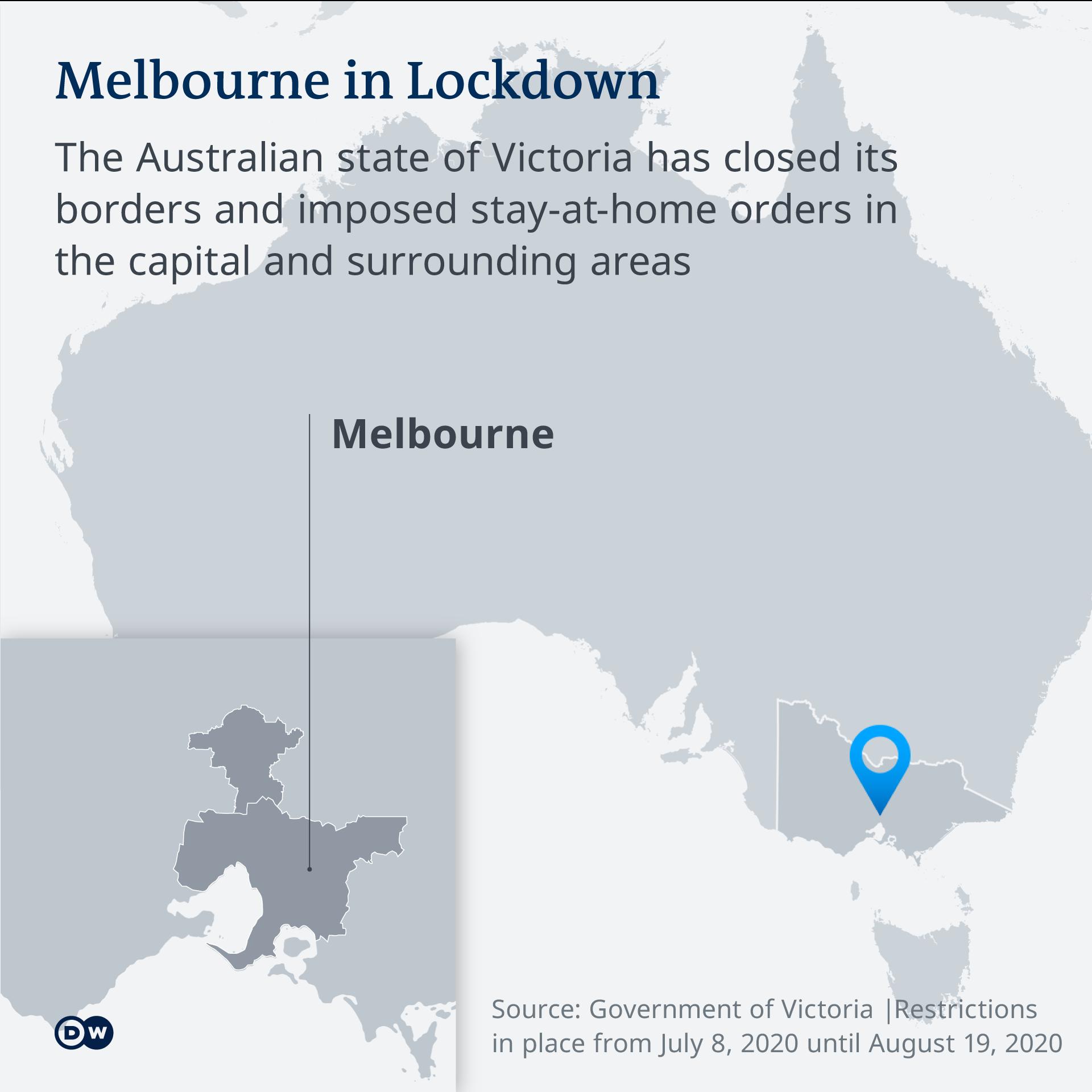 DW map showing Australia and Melbourne's location EN