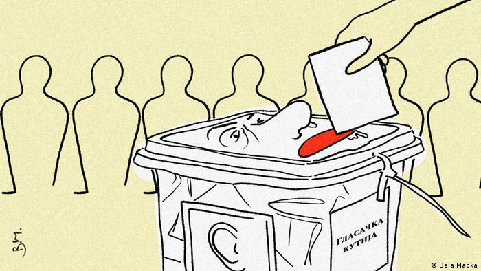 DW-Karikatur Wahlen in Nord-Mazedonien in Corona-Zeit (Bela Macka)