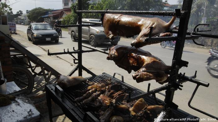 A roadside vendor's stall with dog mean on a grill and two large carcasses rotating on spits above. Archive image from 2017, taken in Phnom Penh.