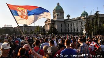 Μαζική διαδήλωση στη Σερβία στις αρχές Ιουλίου εν μέσω πανδημίας