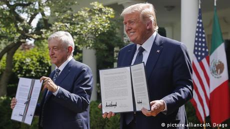 El presidente de México, Andrés Manuel López Obrador, y el presidente de Estados Unidos, Donald Trump. (Julio de 2020).