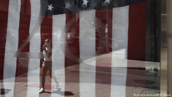 US flag seen through glass