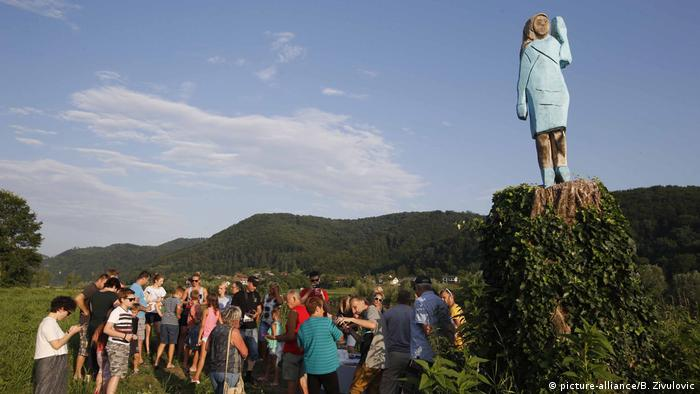 A statue depicting the first lady of the US, Melania Trump, near her birthplace in Sevnici, Slovenija