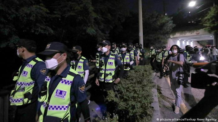 Police search for Seoul Mayor Park Won-soon in a park in Seoul on July 9, 2020, after he was reported missing by his daughter.