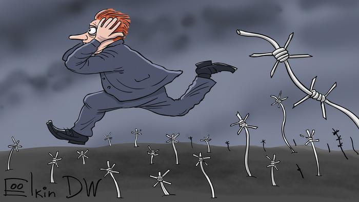 Человек бежит посреди колючей проволоки как символа репрессий в России после принятия поправок в конституцию - карикатура Сергея Елкина