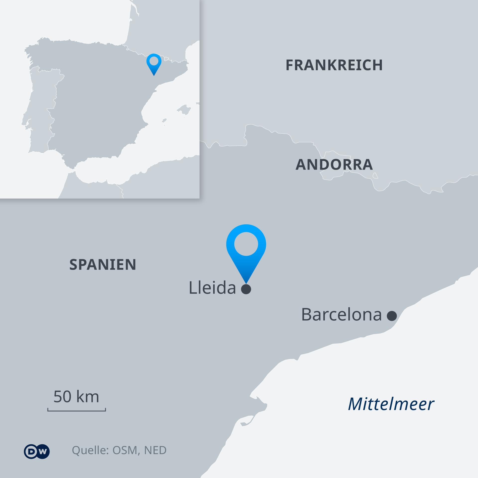 Karte - Lleida, Spanien - DE