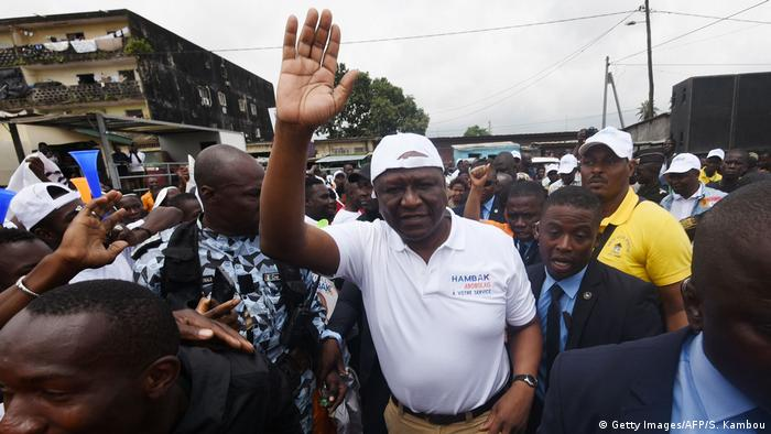 Ivory Coast's Defense Minister Hamed Bakayoko at a political rally for local elections