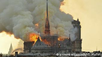 Собор Парижской Богоматери в огне, апрель 2019 года