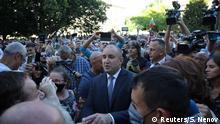 Bulgarien Sofia | Präsident Rumen Radev spricht mit Demonstranten