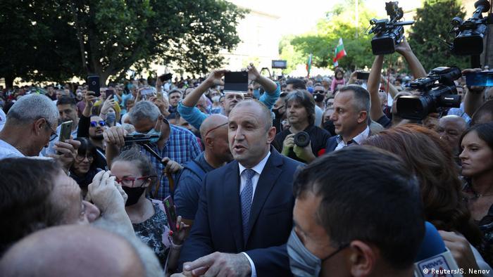 Bulgarian President Rumen Radev addresses demonstrators in Sofia