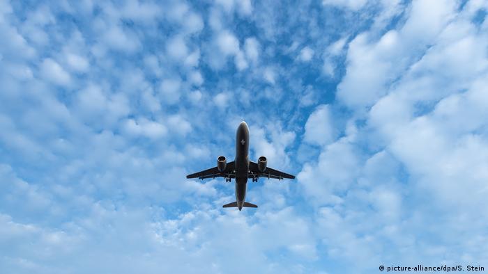 Plane landing at Frankfurt Airport