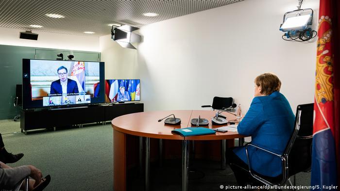 Deutschland Berlin   Video-Gipfeltreffen zum Westbalkan-Konflikt