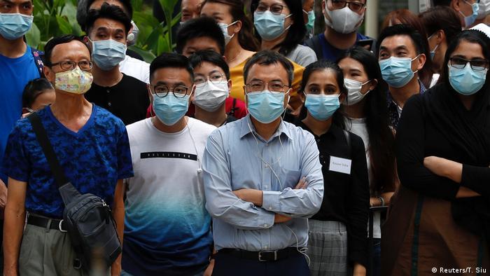 People in Hong Kong wearing face masks