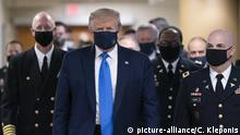 July 11, 2020 - Bethesda, MD, United States: United States President Donald Trump arrives at Walter Reed National Military Medical Center to visit with wounded military members and front line coronavirus healthcare workers. Photo by Chris Kleponis/Pool/ABACAPRESS.COM |