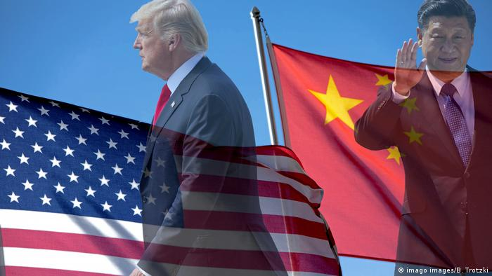 US and Chinese flags with Donald Trump and Xi Jinping