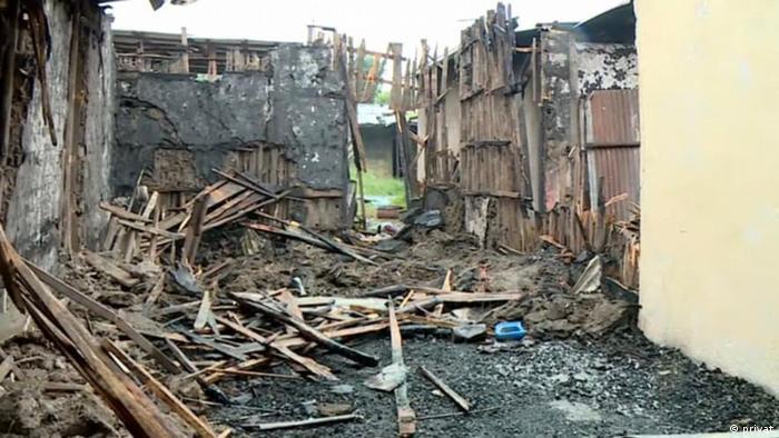 A destroyed building in Shashemene in Ethiopia