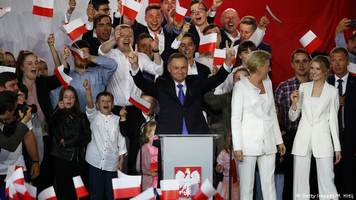 Andrzej Duda and his family celebrating his election victory in 2020