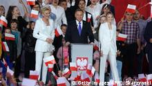 Polish President Andrzej Duda addresses supporters as exit poll results were announced during the presidential election in Pultusk, Poland, on July 12, 2020. - Poland's right-wing head of state Andrzej Duda was ahead by a tiny margin in the presidential run-off against Warsaw's liberal mayor, an exit poll on on July 12, 2020 showed, starting a tense wait for the official results (Photo by JANEK SKARZYNSKI / AFP) (Photo by JANEK SKARZYNSKI/AFP via Getty Images)