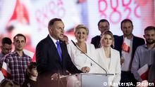 Polish President and presidential candidate Andrzej Duda addresses his supporters following the announcement of the presidential election's exit poll results (Reuters/A. Stepien)