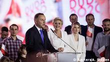 Polen I Wahl I Der polnische Präsident Duda spricht nach der zweiten Runde der Präsidentschaftswahlen in Pultusk zu seinen Anhängern