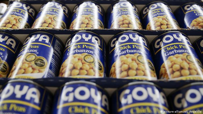 A photograph of Goya foods on a grocery store shelf