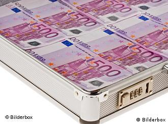 A briefcase full of euro notes