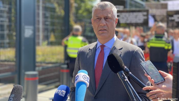 Hashim Thaci talks to the media in The Hague