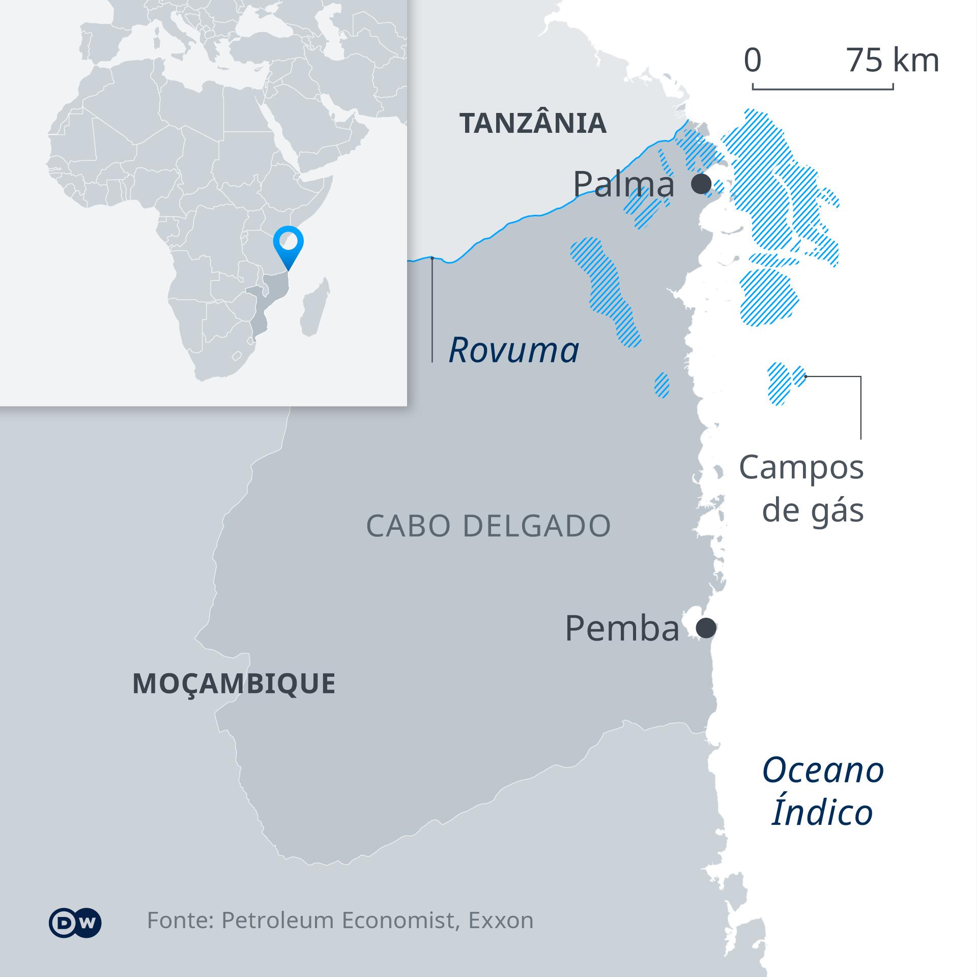 Infografik Karte Mosambik Gasfelder PT