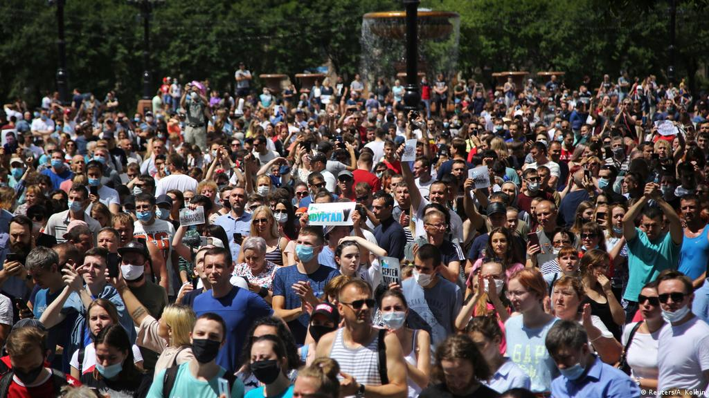 Protests Against Vladimir Putin Rock Russia S Khabarovsk Europe News And Current Affairs From Around The Continent Dw 14 07 2020