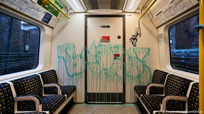 Banksy graffiti on London underground train (Reuters/Instagram/Banksy)