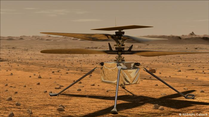 An artist's impression of NASA's Mars helicopter, Ingenuity