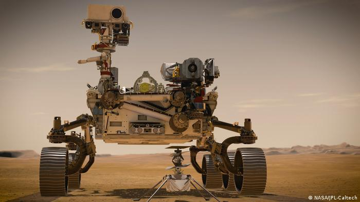 Mars 2020 rover Perseverance stands by the first ever Martian helicopter, Ingenuity