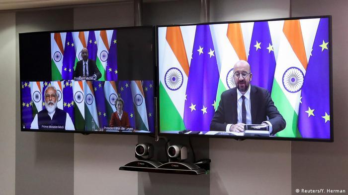 Brüssel EU Indien Videokonferenz Modi, Michel und von der Leyen