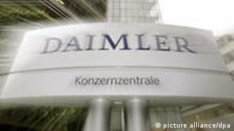 The Daimler logo in front of its Stuttgart offices.
