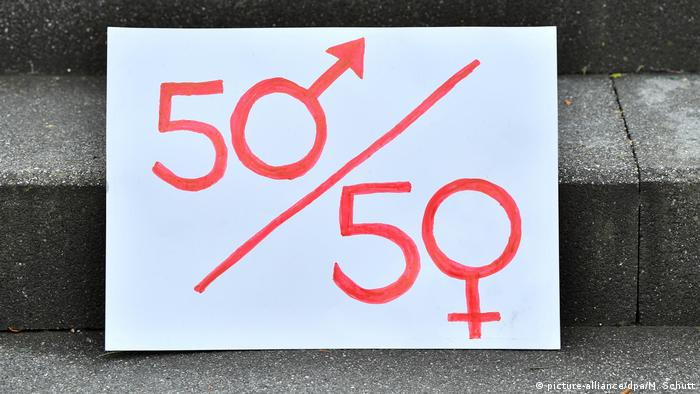Sign outside the Thuringian state parliament calling for gender equality