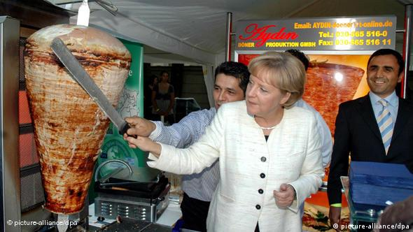 Angela Merkel in a döner shop