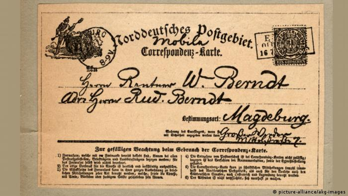 Erste Postkarte um 1870 (picture-alliance/akg-images)