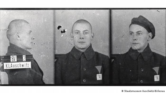 Otto Küsel nosił w obozie w Auschwitz nr 2. Trafił tu za przestępstwa kryminalne