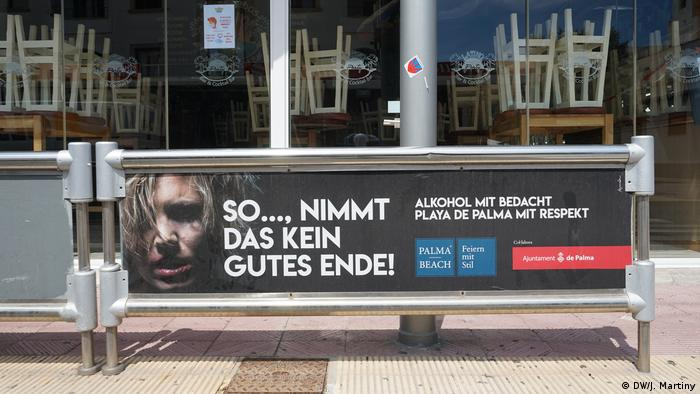 An ad in Mallorca encouraging people to behave responsibly