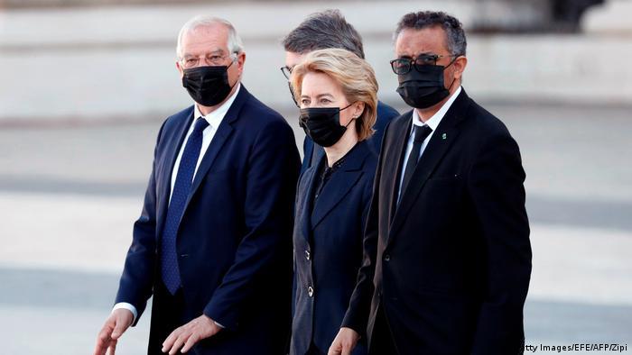 Lideri EU na komemoraciji žrtvama korone u Madridu 16.7.
